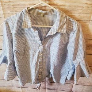 Blue Plaid Bell Sleeve Tie Shirt Large